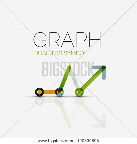 Abstract logo idea, linear chart or graph business icon. Creative logotype design template