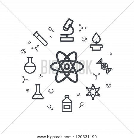 Science line icons. Chemical icons. Circle background. Minimal linear icons.