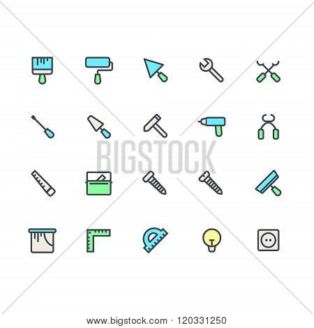 Flat icon set of house remodel tools. House remodel elements and equipment. Building, construction g
