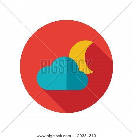 Cloud Moon Flat Icon. Meteorology. Weather