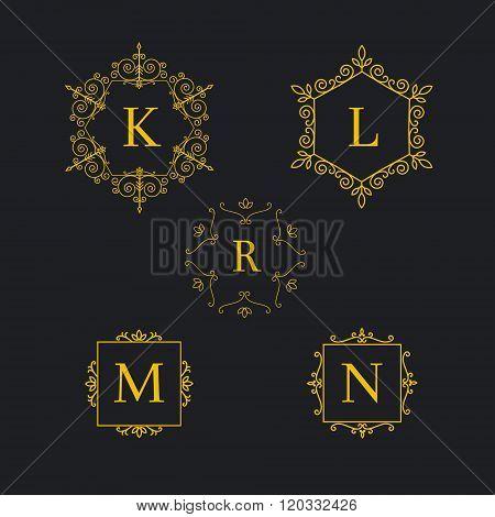 Set art deco luxury classic linear monochrome golden minimal hipster geometric vintage vector monogr