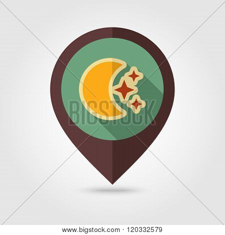 Moon And Stars Retro Flat Pin Map Icon. Weather