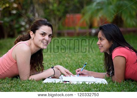 Two Girl Learning Language