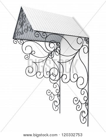 Wrought iron canopy isolated on white background. 3d render imag
