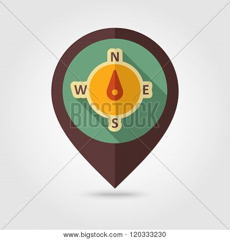 Compass Retro Flat Pin Map Icon. Weather