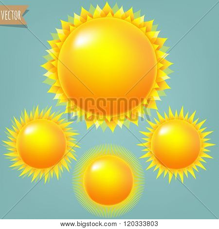 Bright Sun Collection With Gradient Mesh, Vector Illustration