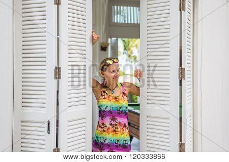 Modern Young Woman In Doorway.