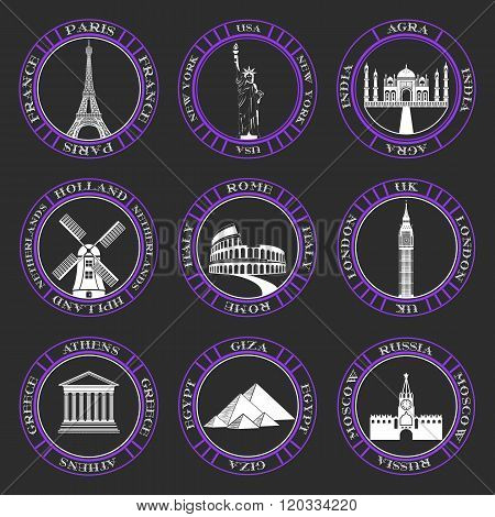 Stickers and icons of travel. Vector illustration isolated famous scenic attractions and places of world.