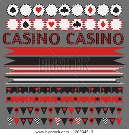 Printable tribal set of vintage casino party elements.