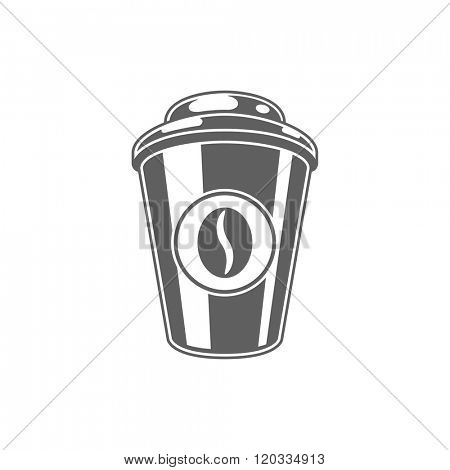 Coffee Cup Vector Illustration. Coffee Cup Silhouette Isolated On White Background. Vector object for Labels, Badges, Logos Design. Coffee Logo, Coffee Cup Silhouette, Retro Logo.