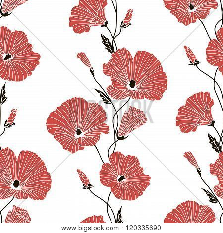 Seamless red and black floral pattern. Vector illustration