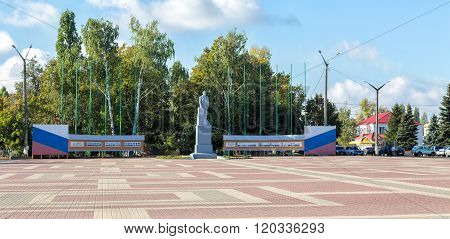 Lenin square in urban village Anna, Russia