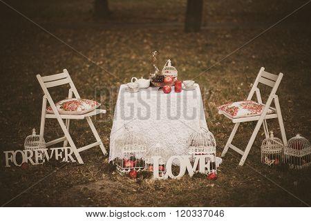 Beautiful Photobooth In Autumn Wood