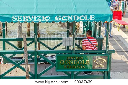 Venice. Parking gondolas.