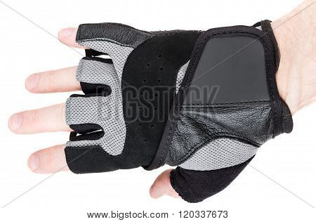Man's Arm In Athletic Gloves Isolated On White
