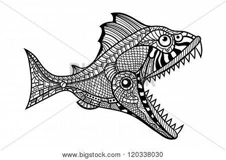 Deep water predator fish attacking