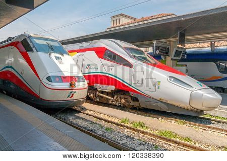 High-speed trains in Italy.