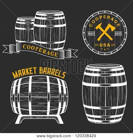 Vector set of badges and logos cooperage workshops. The collection of symbols and emblems on a black background - stock vector