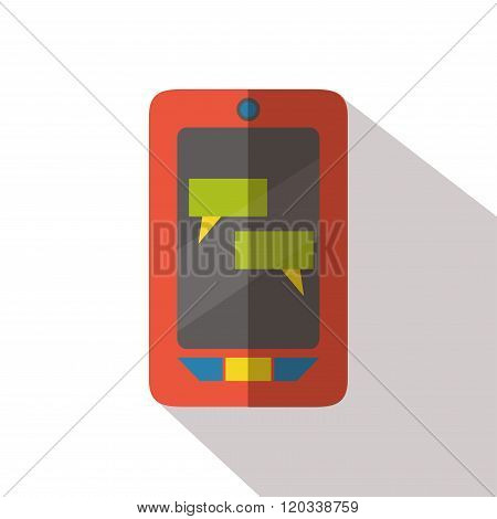 Cellphone with speech boxes flat icon