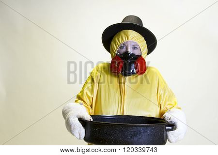 Kitchen Disaster, Hazmat Suit And Pilgrim Hat