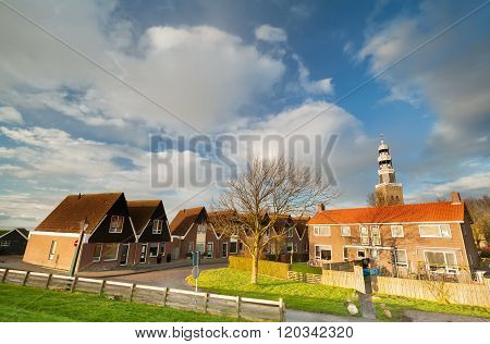 Beautiful City Hindeloopen And Blue Sky