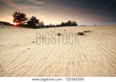 Sunset Over Sand Dune With Textures