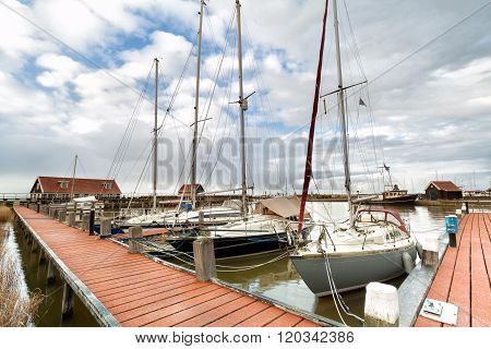Yachts On Harbor In Hindeloopen