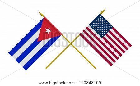 Flags, Cuba And Usa