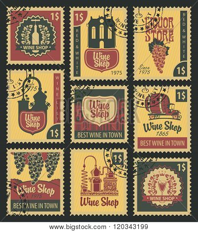 Stamps On Theme Of Wine
