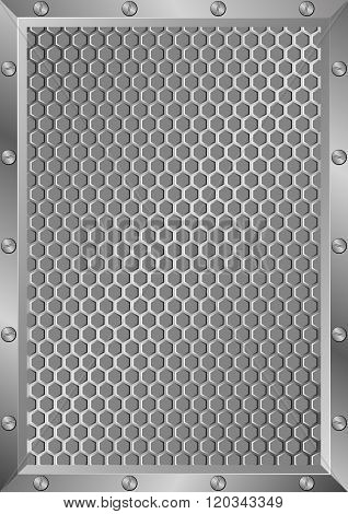 grille background with metal frame - vector illustration