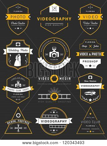 Vector collection of photography and videography logo templates. Photocam wedding and aerial footage logotypes. Photography vintage badges and icons. Modern mass media icons. Photo labels.