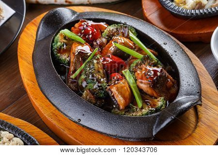 Salmon With Vegetables And Teriyaki Sauce
