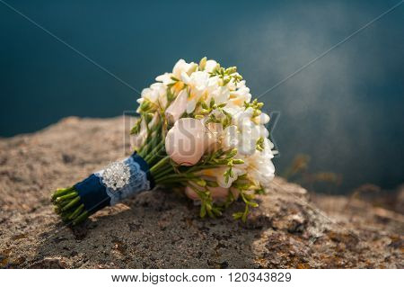 Beautiful Modern Wedding Bouquet On Rock