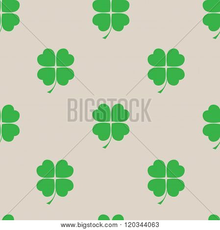 St Patric Day Pattern With Green Clover Leafs
