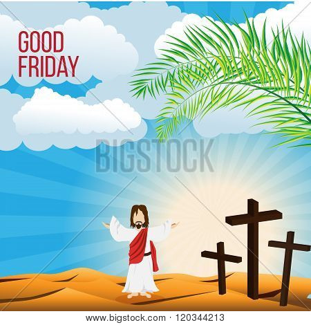 Good Friday background concept  Illustration of Jesus Christ with arm wide open