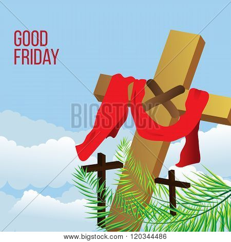 Good Friday background concept with Illustration of Jesus cross.