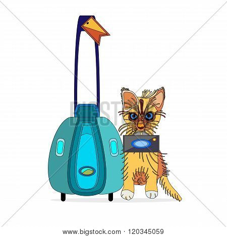 an outlined vector illustration of a ginger cat with photo camera and luggage