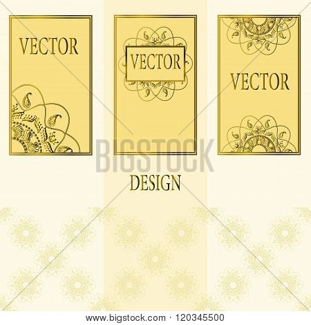 Vector set of design elements, labels and frames for packaging for luxury products in vintage style