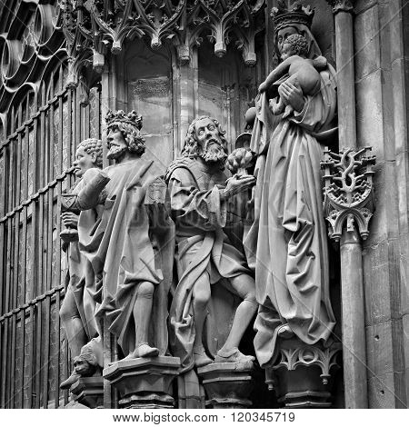 Figures From The Facade Of Strasbourg Cathedral, France