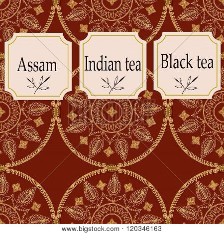 Vector set of design elements and icons in trendy linear style for tea package - assam, indian and b