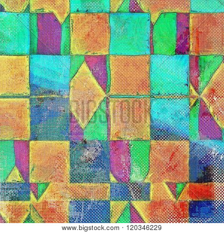 Geometric vintage textured background. With different color patterns: yellow (beige); green; blue; red (orange); purple (violet)