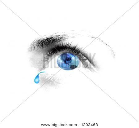 Augen Tränen blaue Welt