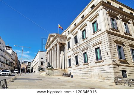 MADRID, SPAIN - OCTOBER 27, 2015 : Congress of Deputies of Spain is the lower house of the Cortes Generales.