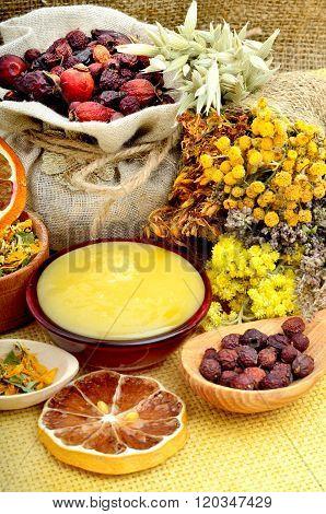 Medicinal Herbs With Honey.