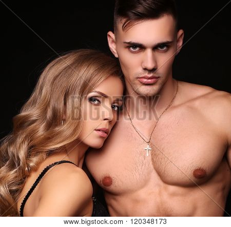 Love Story. Beatiful Sexy Couple. Gorgeous Blond Woman And Hands