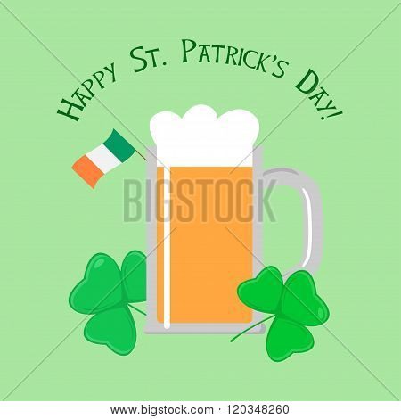 Saint Patricks day Greeting Card with Beer