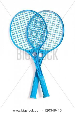 Blue tennis racket isolated on white background
