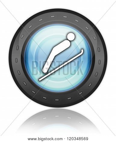 Icon, Button, Pictogram Ski Jumping