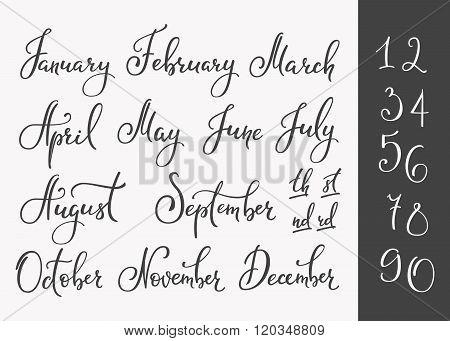Vector Lettering Months Names Set