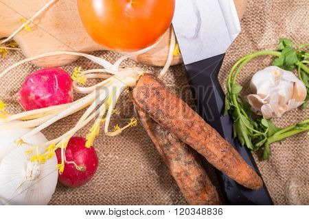 Crude Vegetables, Knife And Board, Top View